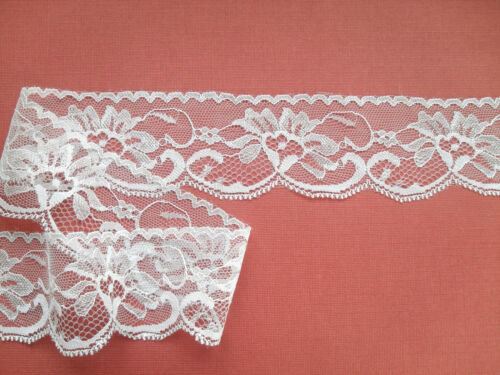 "Laces Galore ~Pretty White Rose Nottingham LACE  2/""//5cm Wedding Baby Cot Card"
