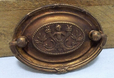 Vintage Brass Ornate Drawer Pull Knob Handle Dresser Cabinet Victorian K7977