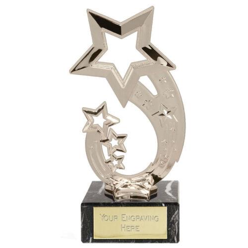 Shiny silver whappy trophée Prix Star sur base en marbre gravure libre récompense scolaire
