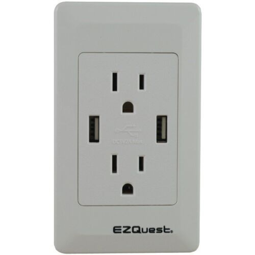 15A//125V 2-Port 2.1-Amp Plug /& Charge USB Charger X73692  EZQUEST 2-Outlet