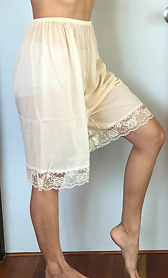 SHEER NYLON HALF SLIP PETTICOAT PANTS LACE DETAIL BEIGE WOMEN UNDERWEAR
