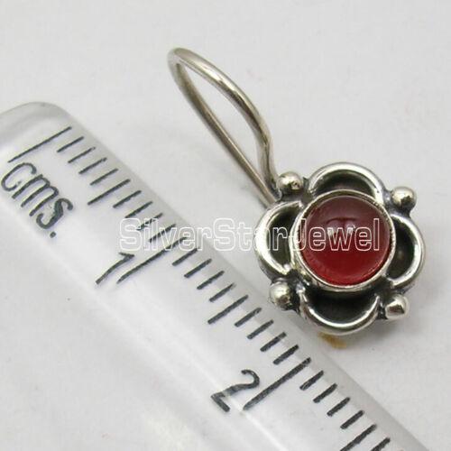 """Weight 2.3 gms 925 Sterling Silver RED CARNELIAN HANDMADE Earrings 0.7/"""" Jewelry"""