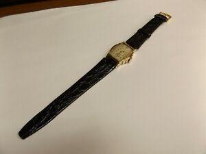Vintage-BULOVA-Manual-Wind-Art-Deco-10k-Gold-Filled-Men-039-s-Watch-Leather-Band