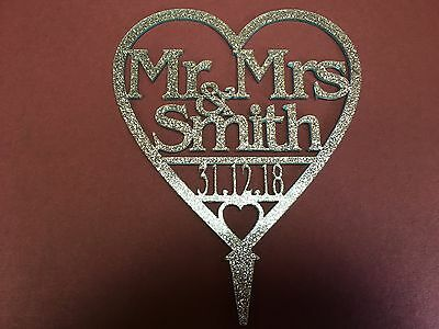 Glitter Personalizzata Mr & Mrs Matrimonio Decorazioni Per Torta Con Cuore Data Molti Colori-mostra Il Titolo Originale Ufficiale 2019