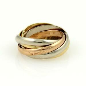 56558a4f06f0 Cartier Trinity 18k Tri-Color Gold 5 Rolling Rings Size EU 51-US 5.5 ...