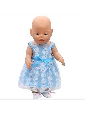 Kleid 43 Cm Baby Born/sister Hellblau Zb Schneidig Puppenkleidung Neu Mit Einem LangjäHrigen Ruf