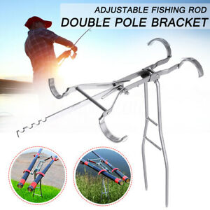 US-Adjustable-Stainless-Steel-Dual-Fishing-Rod-Pole-Ground-Holder-Stand-Support