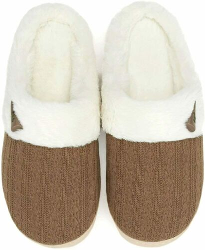 NineCiFun Women/'s Slip on Fuzzy Slippers Memory Foam House Slippers Outdoor Indo