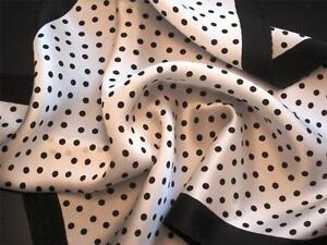 "14"" Silk Pocket Square White /Black Polka/black border- ""the Harry S. Truman""-D7"