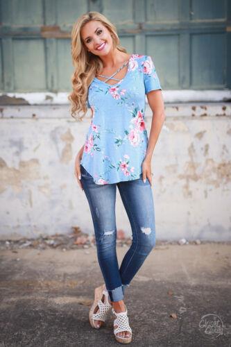 Damen V-Ausschnitt Oberteile Freizeit Blusen Blumen Schnürung T-shirt Sommer Top