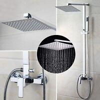 Uk Bathroom Taps Chrome Rain 8'' Shower Head Arm Set Faucet Hand Spray