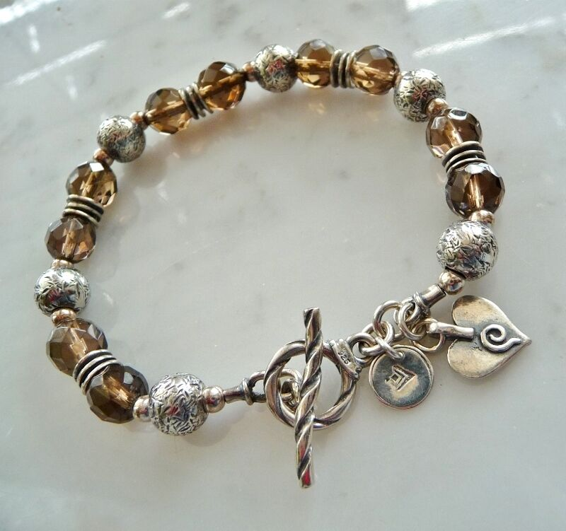 Silpada Bracelet B1477  Smoky Quartz Toggle Clasp - Heart Charm