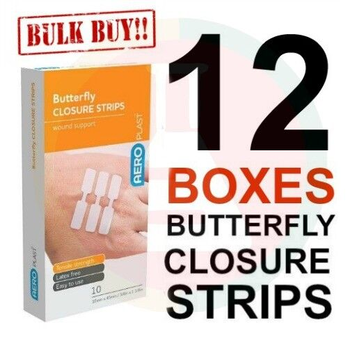12 X FIRST AID BAND AID BUTTERFLY CLOSURES 10 pk BULK VALUE SUPER ADHESION