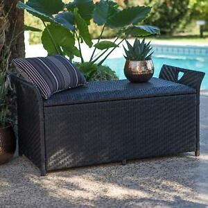 Fantastic Details About Dark Brown Resin Wicker Deck Storage Box Patio Bench Seating Pool Storage Pdpeps Interior Chair Design Pdpepsorg