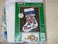 Christmas Past Stocking Cross Stitch Charts & Charms Kit Wysocki Aida Floss Incl