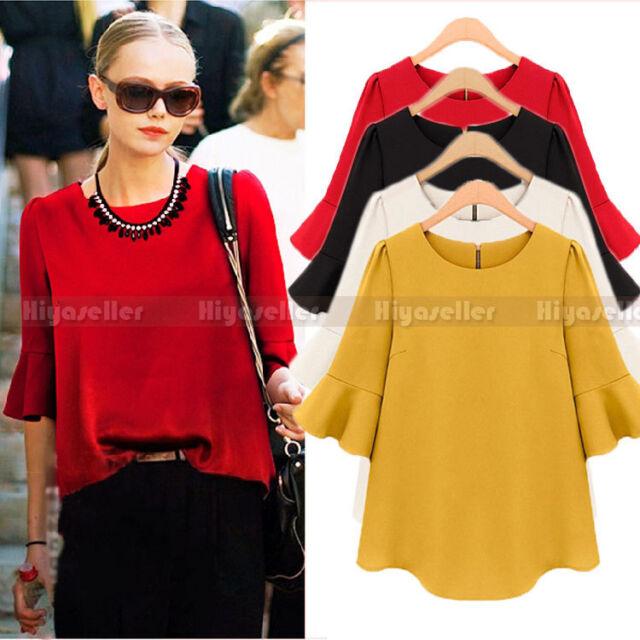 Hot Korean Women Fashion Chiffon Blouse Loose Lotus Sleeve Blouse Tops Shirt Tee