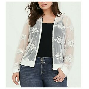 ef9caea97 Details about Torrid Womens Bomber Jacket White Embroidered Mesh Plus Size  4X NWOT 48-1