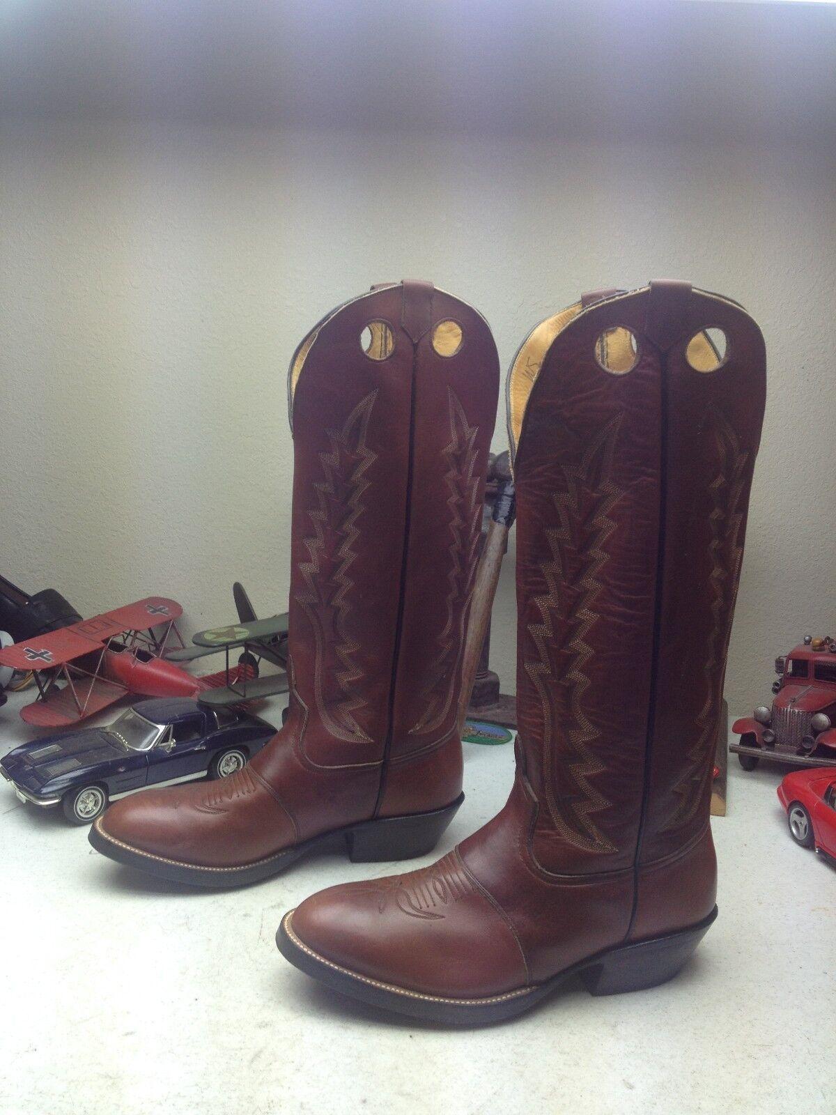 Hecho en EE. UU. Vintage Cuero Marrón Western Cowboy Rodeo Ride Buckaroo botas 9.5 D