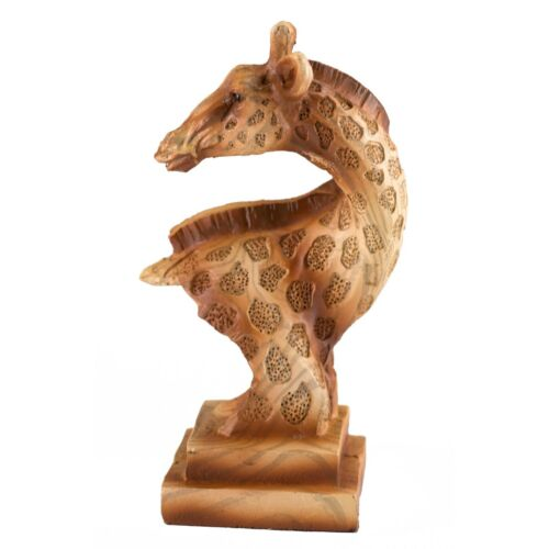 "Small Giraffe Bust Faux Wood Look Figurine Resin 4/"" High New!"