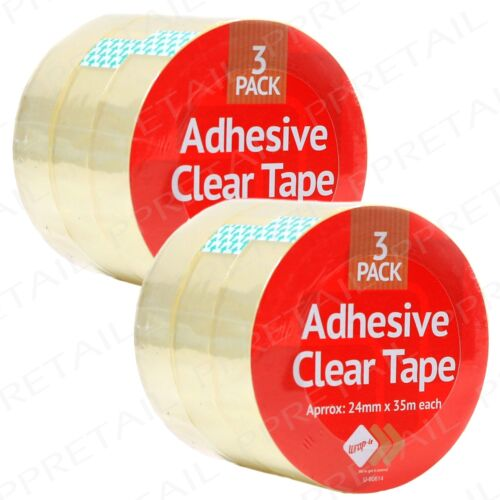 6x CLEAR STRONG TAPE ROLLS Adhesive 24mm x 35m Sellotape Arts Craft Packing Seal