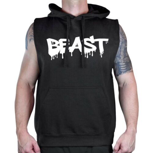 Men/'s Beast Dripping Black Sleeveless Vest Hoodie Workout Gym Fitness Fit V169