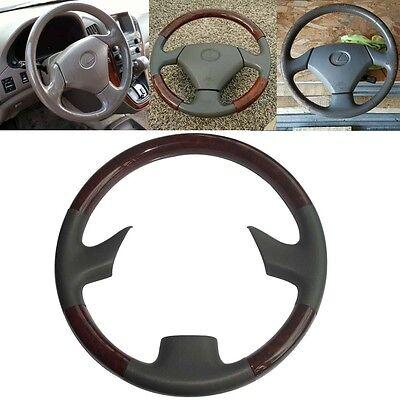 Gray Leather Wood Steering Wheel Cover for  03-07 Lexus LX470 GX470 Prado FJ120