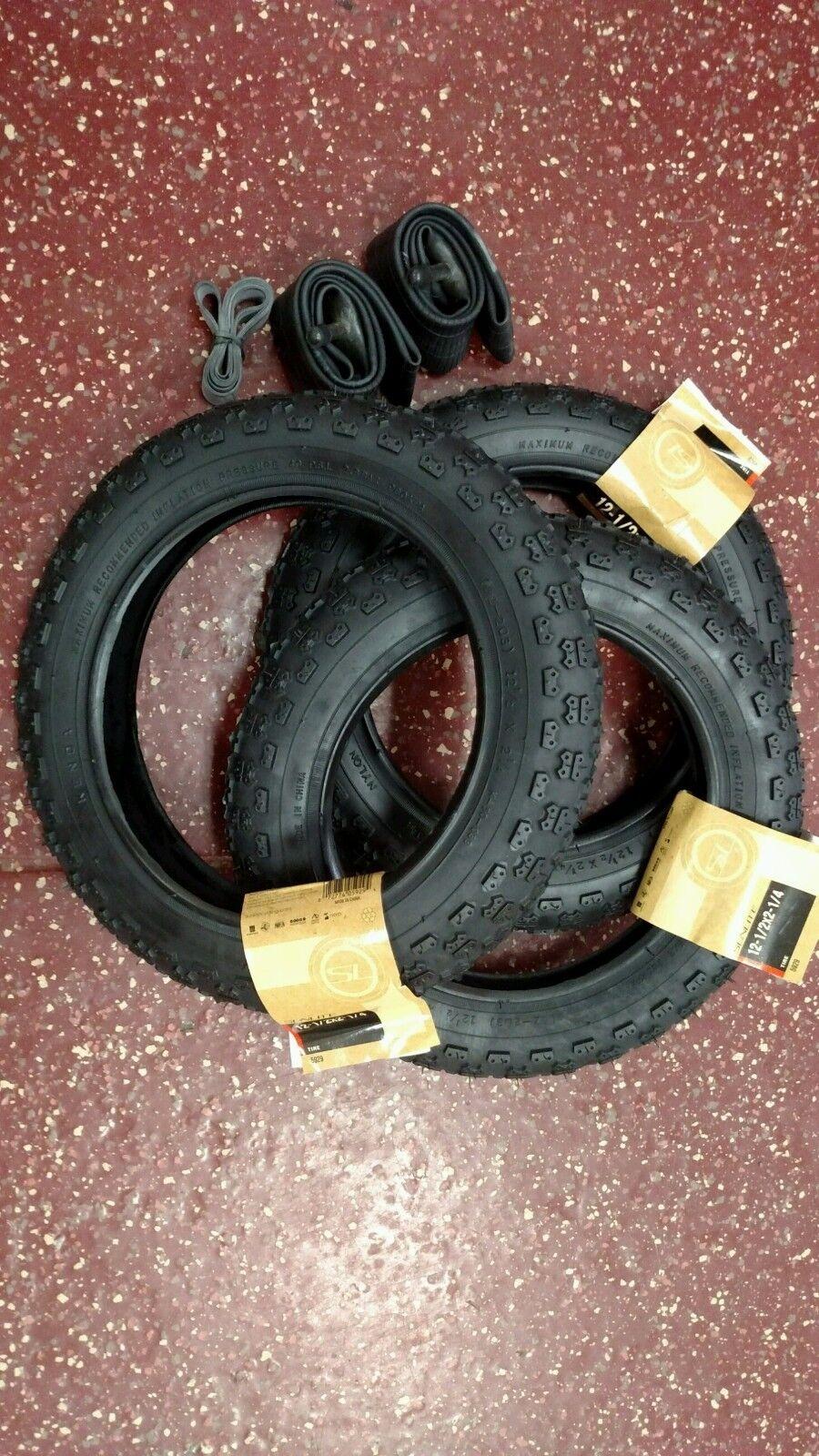 12 1 2 x 2 1 4 12 x 2.125   2.25 Bike Stroller Knobby Tire Set (3 Tires&Tubes)