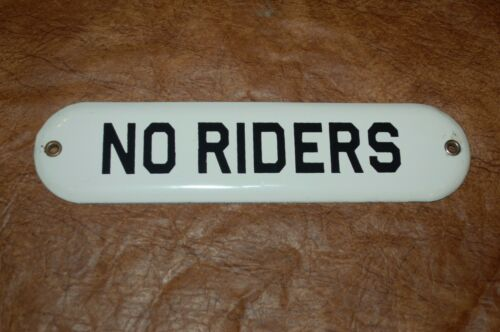 """Oval /""""NO RIDERS/"""" Porcelain Metal Sign"""