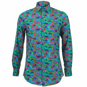 Camisa-Hombre-Loud-ORIGINALS-Ajuste-a-medida-Arlequin-Rosa-Retro-Psicodelico