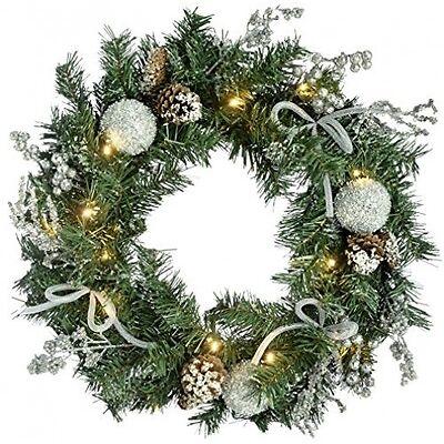 Garland Illuminated Decorated Pre-Lit Wreath Christmas Door Decoration Xmas Gift