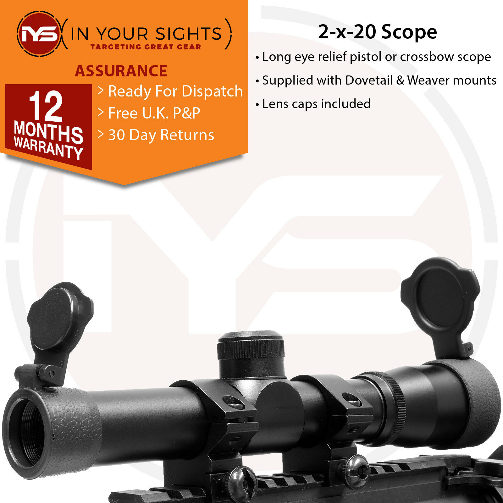 Long eye relief scope  2x20 Air pistol scope  Crossbow sight  9.5-11&20mm mounts