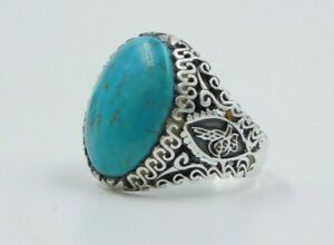 Style élégant de luxe pierre turquoise argent sterling 925 Bague Homme Taille 11.5