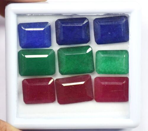 Details about  /16 MM Natural 130 Ct Emerald Ruby and Sapphire Loose Gemstone Lot 9 Pieces