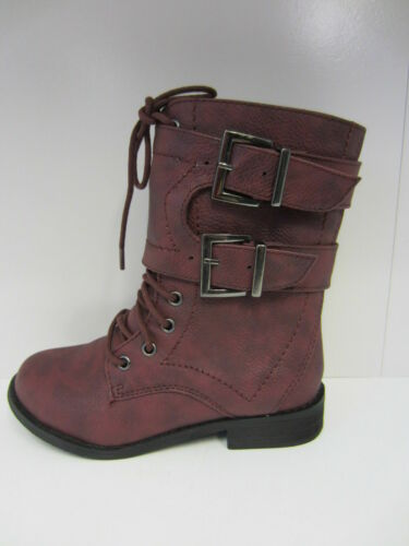 R25A Spot On H5R025 Girls Burgundy Wax Fabric Boots UK Sizes 10 to 2