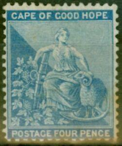 Cape-De-Bon-Hope-1876-4d-Dull-Bleu-SG30-Bon-MTD-Excellent-Etat