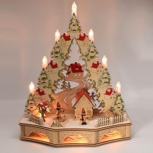 B03 Schwibbogen Weihnachtsdeko Holz beleuchtet LED Licht Lichterbogen Baum Timer