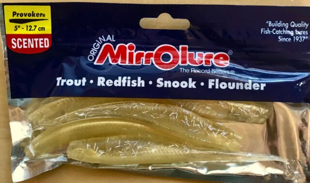Mirrolure Soft Shad Scented Fishing Bait Lure 8 Count. Plum ChartreuseTail