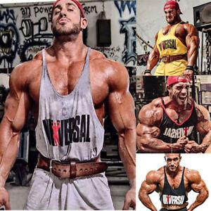 Uomo-Sport-Canotta-Canottiere-T-shirt-Vest-Bodybuilding-Workout-Palestra-Fitne