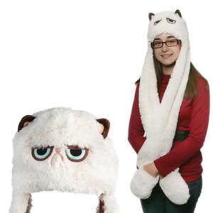 e28560be914 Gund Official Grumpy Cat Scarf Hat Mittens Plush Animal Neck Warmer ...