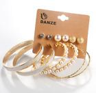 6 Pair Jewelry Earrings Fashion Women Elegant Crystal Rhinestone Pearl Ear Stud