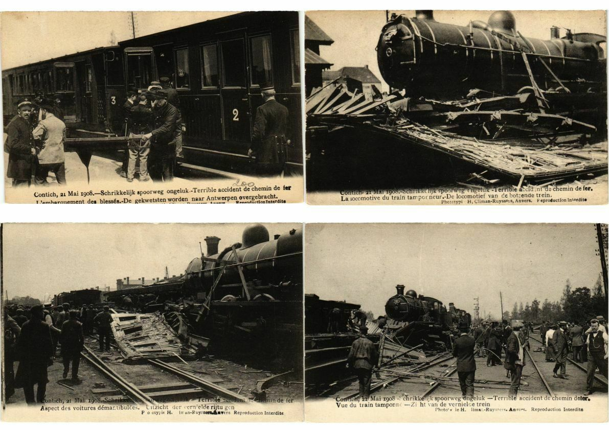TRAIN ACCIDENT CONTICH 21 May 1908 BELGIUM 9 CPA (L2712)