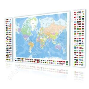Political modern world map flags by world map canvas rolled 3 image is loading political modern world map flags by world map gumiabroncs Images