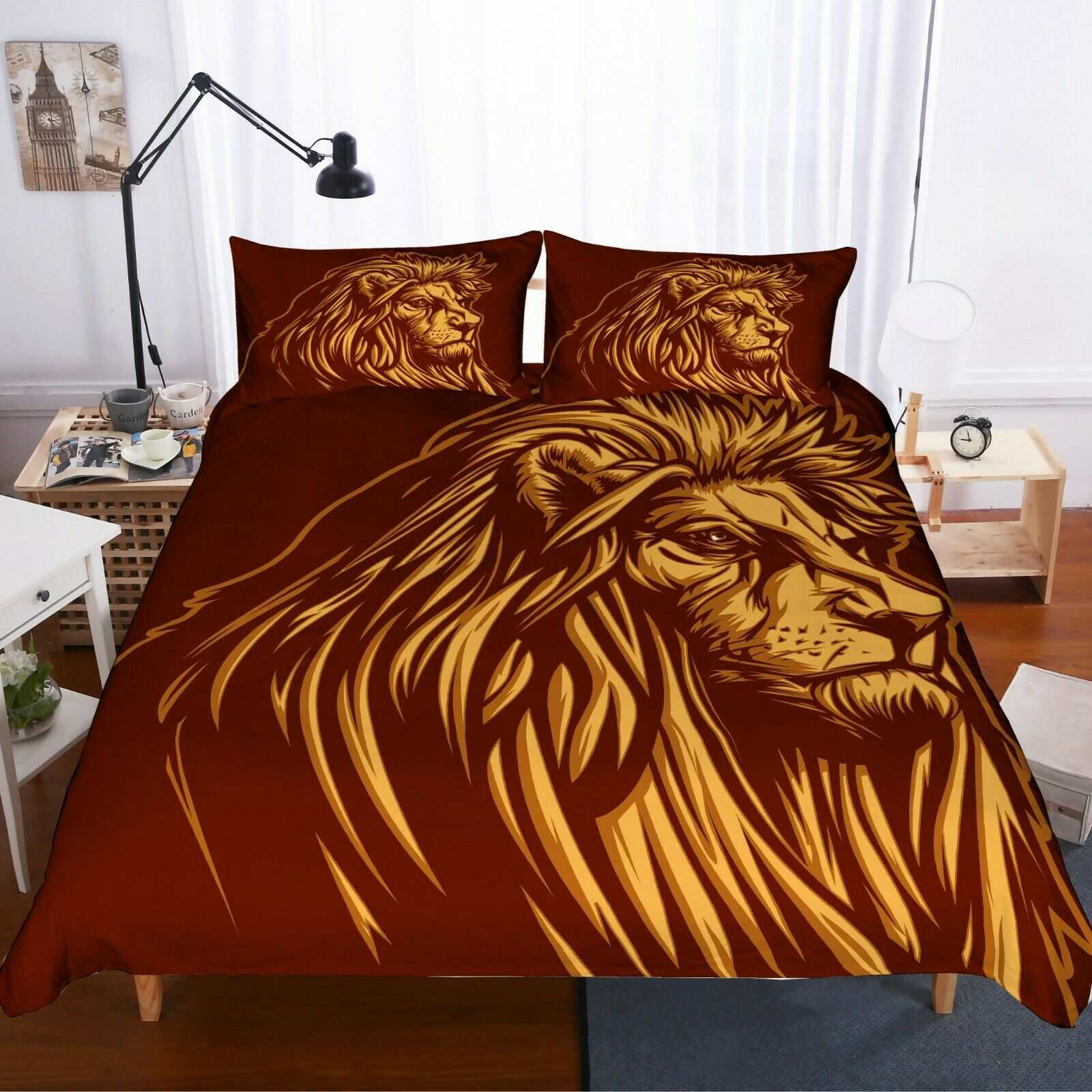 3D oroen Lion Quilt Cover Set Bedding Duvet Cover Single Queen King 3pcs 12