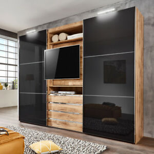 schwebet renschrank magic kleiderschrank plankeneiche glas grau tv funktion 300 ebay. Black Bedroom Furniture Sets. Home Design Ideas