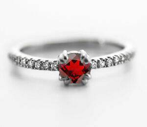 925-Sterling-Silver-Ring-Red-Garnet-Natural-Solitaire-Size-4-5-6-7-8-9-10-11