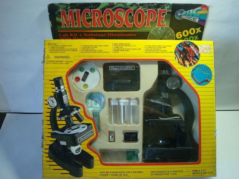 MICROSCOPE LAB KIT GAME SUBSTAGE ILUMINATOR 26 PIECES AMAZING RETRO TOY GAME