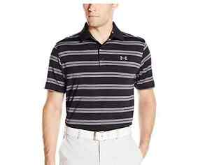 77b506b8 Details about NWT UNDER ARMOUR MEN GOLF GROOVE BLACK GRAY STRIPED POLO  SHIRT SZ LG LARGE
