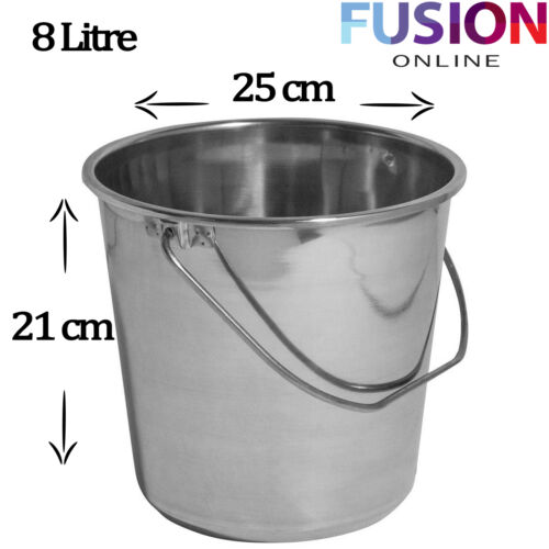 Stainless Steel Bucket Water Champagne Wine Beer Ice Cooler Garden 8 /& 11 Litre