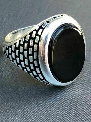 Real sólido de plata esterlina 925 Negro Onyx Hombre Grande Signet Meñique Anillo Todas las Tallas