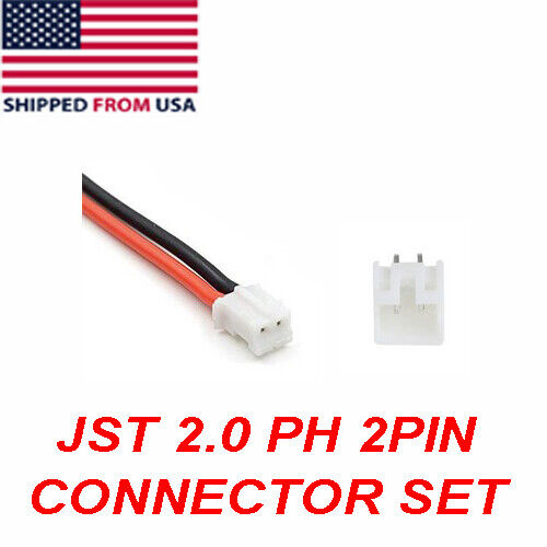 50 SETS Mini Micro JST 2.0 PH 2-Pin Connector plug with Wires Cables 300MM